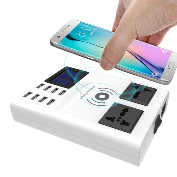 Qi Wireless Charger Charging Pad 8 Ports USB Smart Charger Led Display EU US UK Plug Power Socket Strip Adapter Stand Holder
