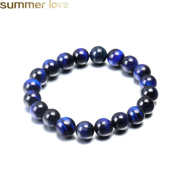 Blue Tiger Eye Buddha Bracelet Natural Stone Round Beads Elasticity Rope Buddha Bracelets For Men Women High Quality 6mm 8mm 10mm Bead Jewe