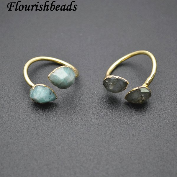 double stones faceted water drop labradorite / amazonite circle rings