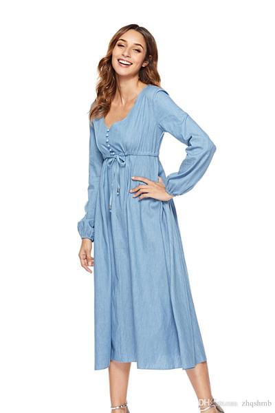 Women dress Summer Blue Solid color Long sleeve Button Elegant Lady print Ruched Elastic waist Denim skirt Casual Loose Dresses Size S-XL