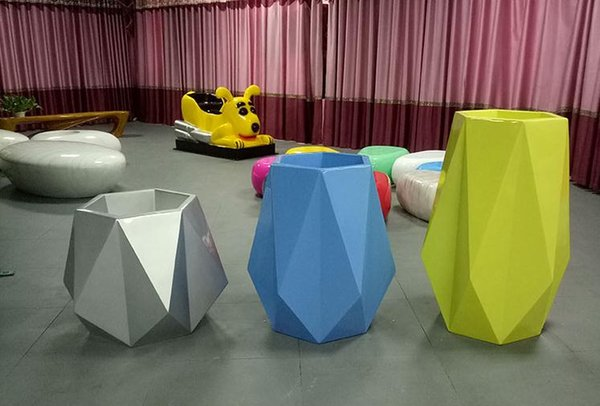 Glass fiber reinforced plastic flower POTS inside and outside of contemporary and contracted hotels villa large vase