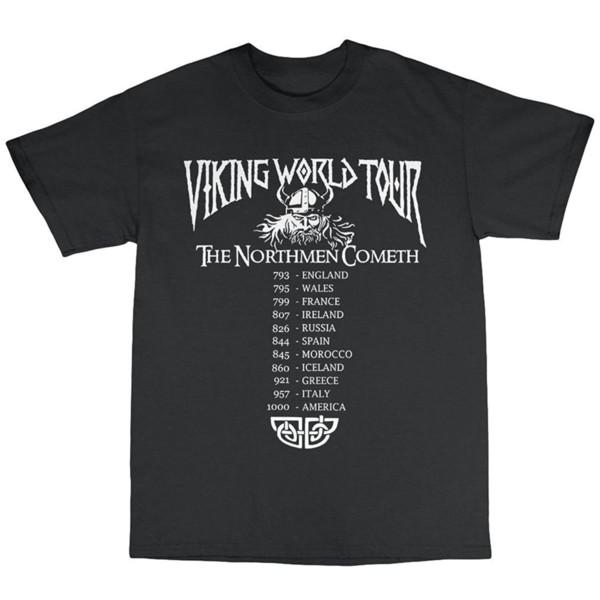 2019 Vikings World Tour Men Summer T-Shirt 100% Cotton Top Quality Cotton Casual Men T Shirts Men Free Shipping