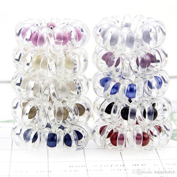 Hochwertige transparente Telefon Drahtseil Haarband Gummi Haargummi Mädchen elastisches Haarband Ring dehnbar Haargummi
