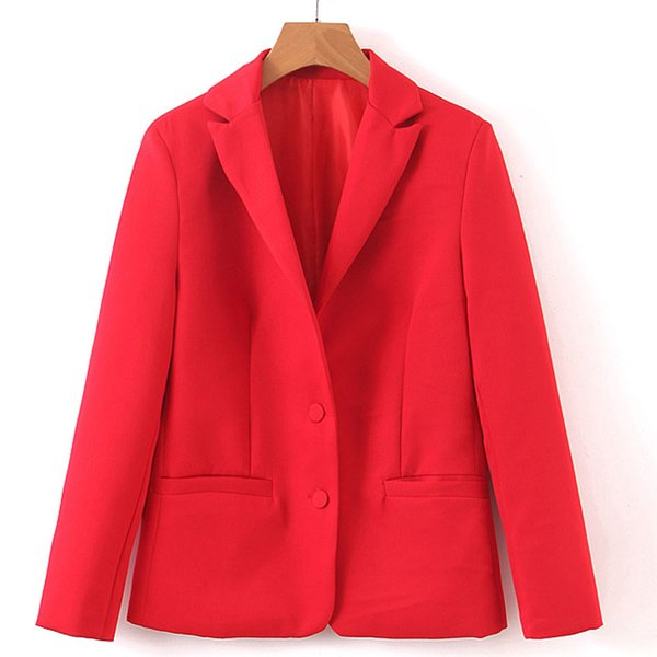 RR Red Single Breasted Blazers Women Fashion Tailored Collar Jackets Women Elegent Pockets Long Sleeve Suits Female Ladies GE