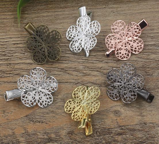 20pcs 35/25mm Rose Gold French barrettes flower petal hair pin Alligator clip tibetan hairpin silver hairclip antique hairwear jewelry