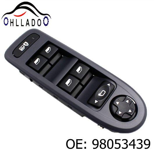 top popular HLLADO Black New Electric Master Window Switch 98053439 For Peugeot 308 2008-2013 Power Window Switch 98053439 Car Accessories 2021