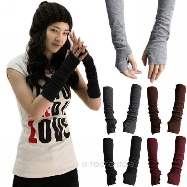 Cálido punto femenino largo sin dedos guantes damas invierno punto medio dedo manguito guantes mujeres invierno largo mitones unisex