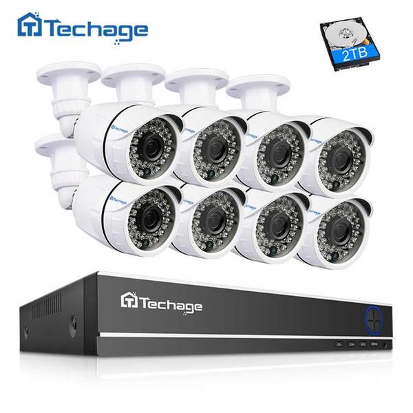 Techage 16CH HDMI 1080N AHD DVR CCTV System 8PCS 2.0MP 1080P IR Outdoor Security Camera P2P Remote View Video Surveillance Kit