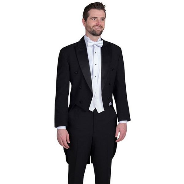 Black Long Coat Evening Party Men Suits Latest Design Peaked Lapel Custom Made Wedding Groom Tuxedos Blazer For Man 3Pieces