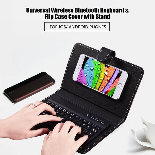 Caldo-vendita di telefonia mobile Bluetooth tastiera custodia caso di cuoio universale senza fili Bluetooth applicabile Android 4,5-6,8 pollici
