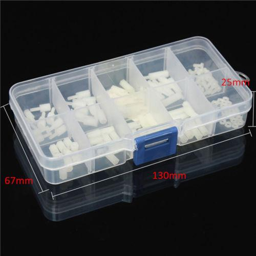 120 PCS M2 Male-Female Spacer Nylon White Hex Screw Nut Stand-off PCB Assortment Kit Drop shipping