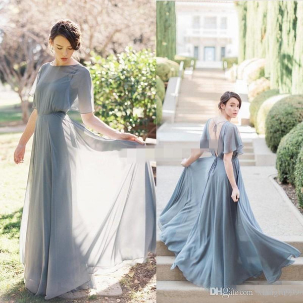 New Long Grey Chiffon Backless Bridesmaid Dresses Sexy Halter Half Sleeve A-line Wedding Guest Dress Simple Cheap Special Occasion Dress