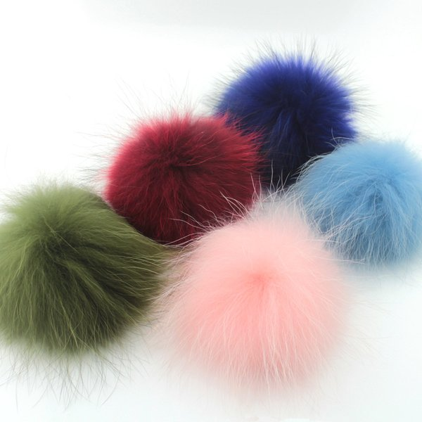 diy 2pcs Real Faux Raccoon Fox Pom Poms Fur Ball Fur Pompom for Making DIY Hats Materials Accessories Jewelry Findings