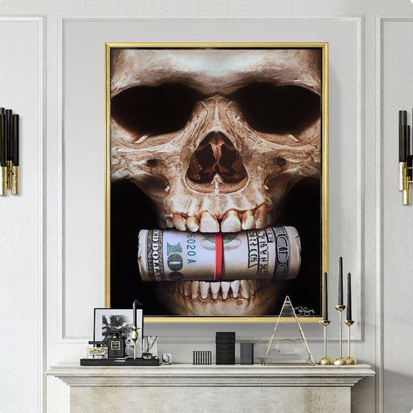 Acheter Peinture Décorative Skull Bite Money Résumé Photos Mur Art Peinture Pour Salon Moderne Toile Imprimée Décoration De La Maison Aucun Encadré De