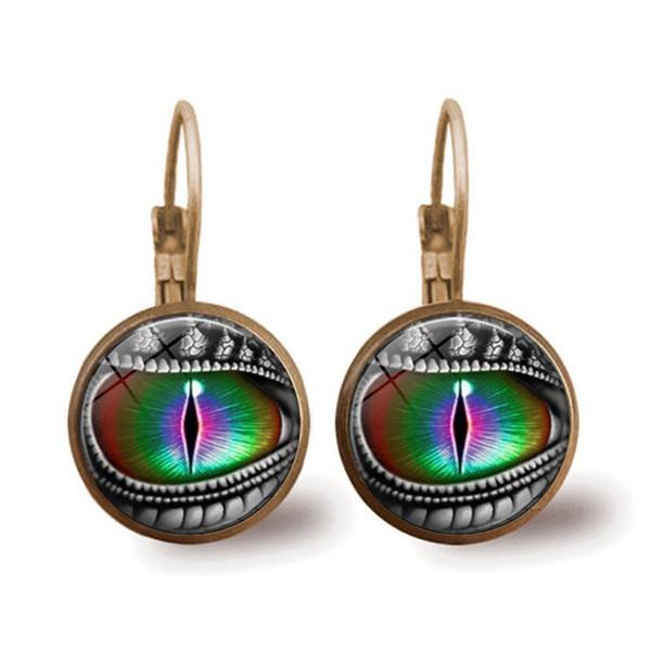 1 пара Дракон Кошачий глаз бронзовый модный стеклянный кабошон рычаг назад серьги кулон серьги ремесла подарки
