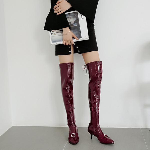 Elastic Sobre O Joelho Botas de Cristal Mulheres Meias Botas Pretas Coxa Longa Alta Magro Sapatos de Plataforma Designer Plus Size 34-48