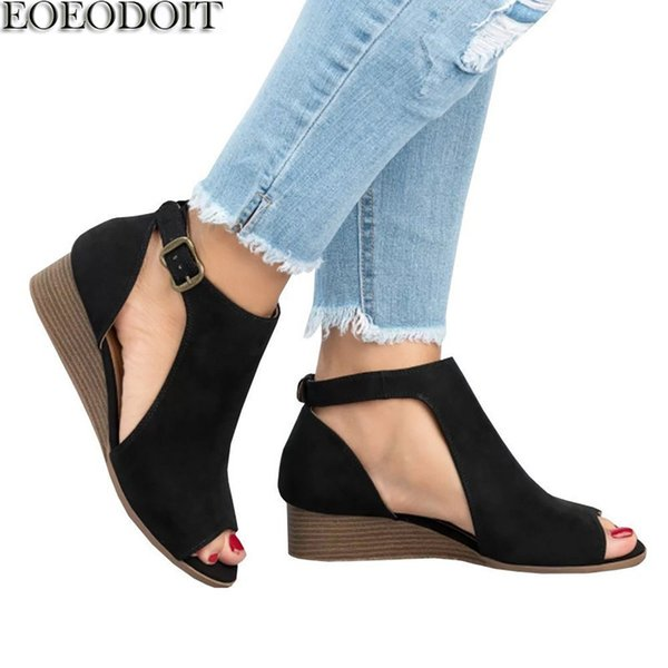 Designer Dress Shoes EOEODOIT Women Wedges Heel Pumps Sandals Summer Autumn Med Heel Peep Toe Casual Comfort Plus Size 35-42