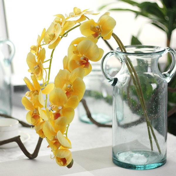 2pcs PU Орхидеи Большого размер Латекс Орхидея Artificial Real сенсорный Phalaenopsis для Обручальных Centerpieces Главных Декоративных цветов Фиктивного завода