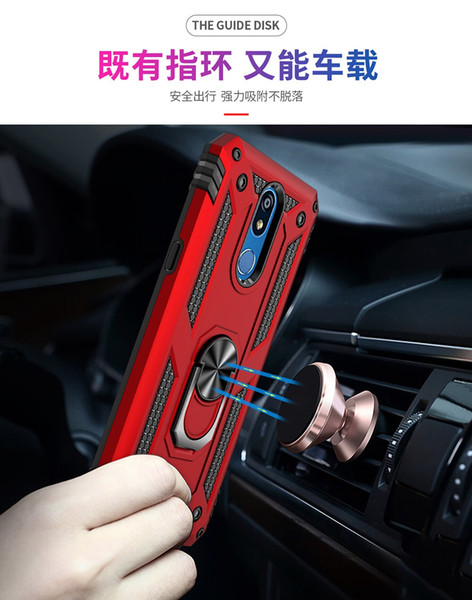 360 Swivel Ring Stand Car Magnetic Adsorption Heavy Duty Shockproof Hard PC Back Cover for LG K40/Stylo4/Stylo5/Aristo2/Aristo3/K50/Q60