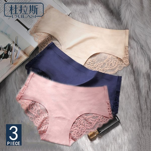 Sexy Panties Underwear Women Seamless Lace Ice Silk Panties Sexy Underpants Cute Lingerie Cotton Briefs Bikini Panty For Girls SH190718