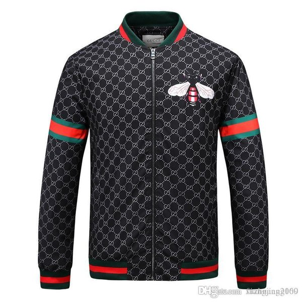 2018 Europa e Stati Uniti marea marchio jacquard testa di tigre G bee fuori giacca uomo e donna giacca con cerniera 18 sport giacca giacca nuova