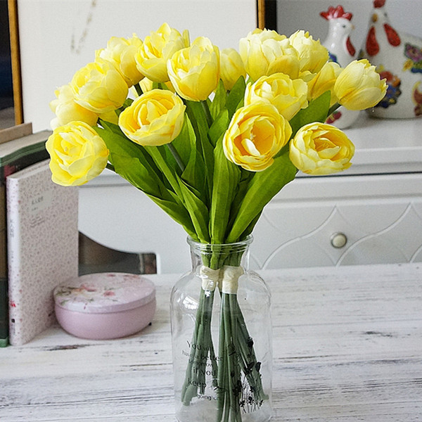 6pcs/bunch french tulips artificial flower for home wedding decoration silk white tulip hand flowers flores new house decor