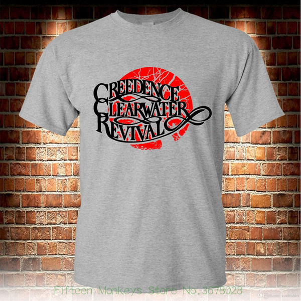 Men T-shirt Men Clothing Plus Size Creedence Clearwater Revival Rock Band Grey T-shirt Men's Tshirt S To 3xl
