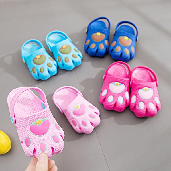 dibujos animados oso pata zapatos niños verano sandalias bebé niño niñas agujero playa zapatos fondo suave prewalkers