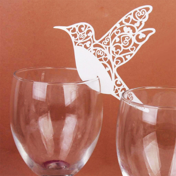 best selling 50pc white color for wedding glass cup decor Humming Birds Wedding Table Paper Place Card Escort Name Card Wine Glass