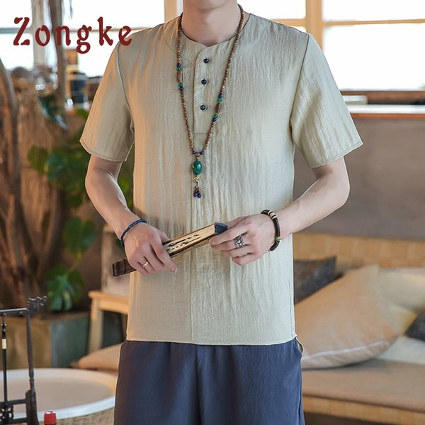 Zongke Chinese Style Solid Linen T Shirt Men Fashions Harajuku Streetwear Funny Tshirt Men T Shirt Hip Hop T-Shirt 2019 New