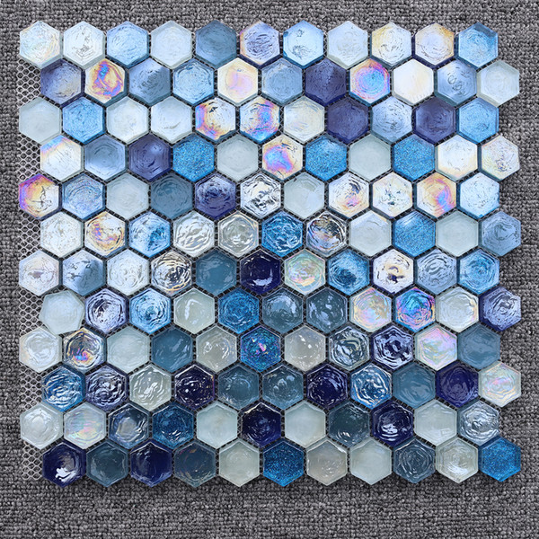 Hexagon Sugar Blue Rainbow Stained Glass Mosaic Tile Backsplash Kitchen CGMT1903 Crystal Glass Mosaic Bathroom Shower Wall Tile