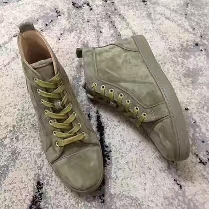 Erkekler Kadınlar Tasarımcı Sneakers Turuncu Yeşil Gray İçin Marka Tasarımcı Yüksek Top Süet Sneaker Eğitmenler Flats Kırmızı Alt Ayakkabı Lüks Dikenler