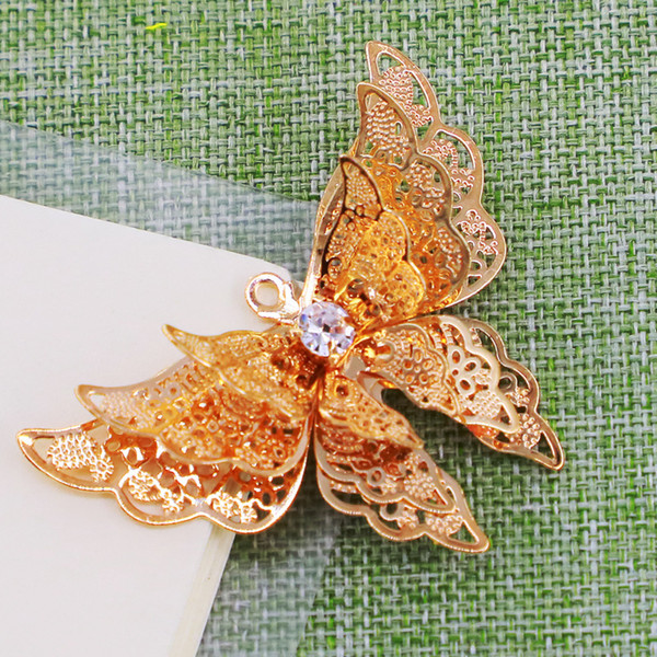 top popular 3D butterfly ornaments accessories gift pendant parts layers metal golden and silvery color delicate gold plated 2021