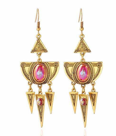 free shipping Bohemian wind earrings fantasy color gemstone tassel pendant multi-layer earrings stylish classic exquisite elegance