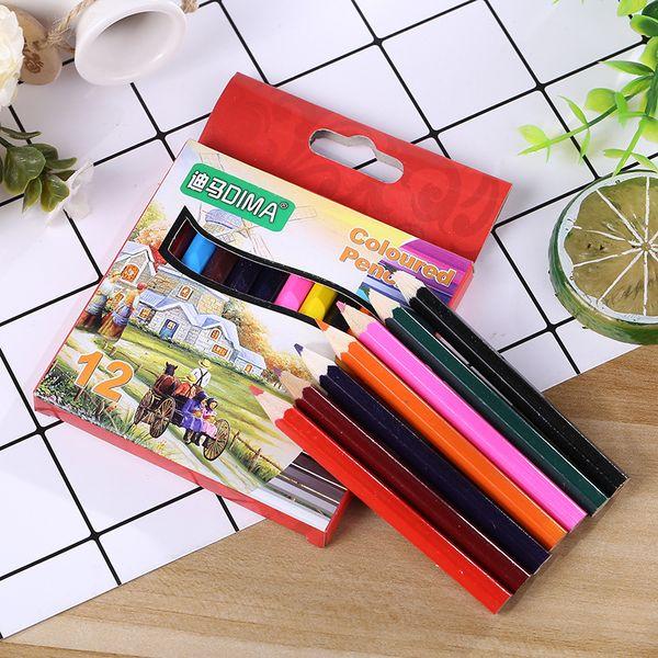 top popular 88MM Mini Short Festival School Award Gifts Wooden Wood Oily Color Pencil Set Oil Painting Sharpen 12pcs Colored Pencils Coloured Pencil set 2021