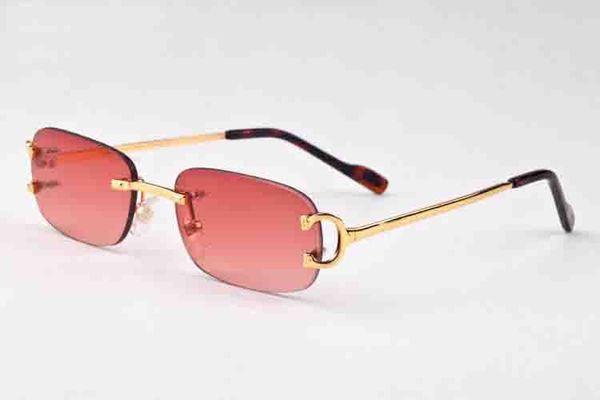 Luxury-2017 novel retro square sunglasses cheap designer for women rimless polarized sunglasses buffalo horn glasses with original box