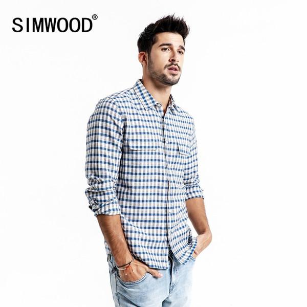 Simwood Casual Shirt Men's Brand Linen 2019 Autumn Fashion Streetwear Long Arm Plaid Shirts Men's Camisa Masculina 190174 Y19071301