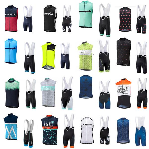 6377 Morvelo Cycling Vest Bib Shorts Sets Summer Men Comfortable Windproof Sleeveless Outdoor Sports Jersey Set S