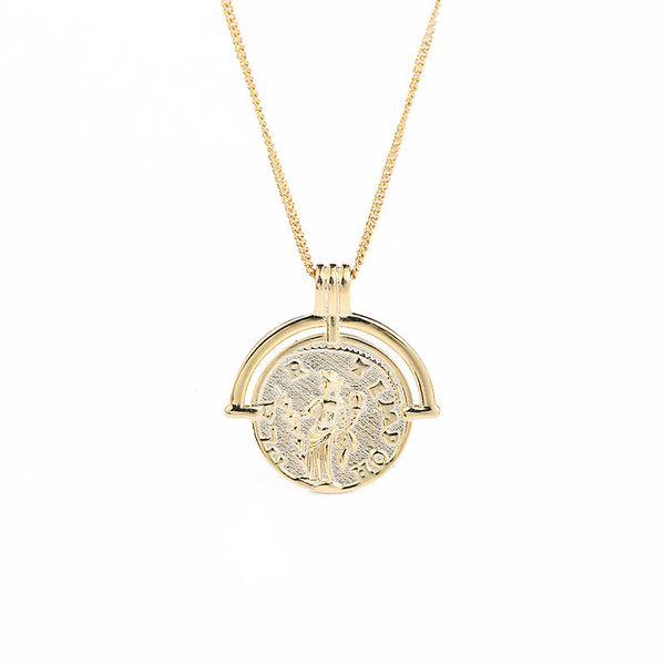 Tempérament Sterling Silver Ladies Collier Rétro Golden Constellation Chaîne Tendance INS Style Rond Pendentif Collier Bijoux