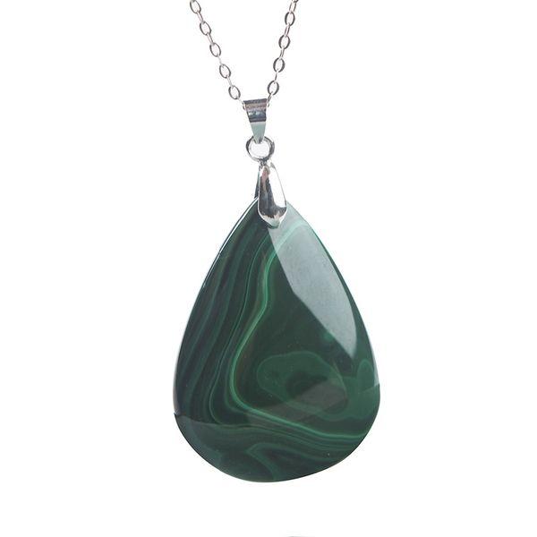 Genuine Green Malachite Pendant Natural Stone Chrysocolla Gems Crystal Pendants Necklace Jewelry Water Drop Bead 38*28*5mm