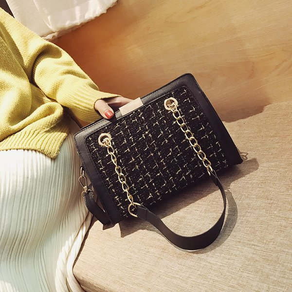 Free Shipping Fashion Chic Chains Solid Bag Lady Flap with Zipper Fresh Japan and Korean Style Shoulder Bags Women Satchel Bag