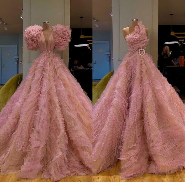 Nova Chegada Lindo Manga Longa Rosa Vestidos de Noite 2019 Sexy Prom Vestido de Tule Vestidos de Noite Formais robe de soiree Abendkleider