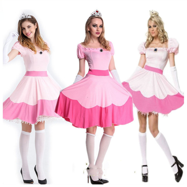 2019 Halloween Super Mario Bros Princess Peach Costume Pink Dress Women Fantasia Fancy Party Dress Up Adult Ladies Carnival Outfitmx190923 From Pu02