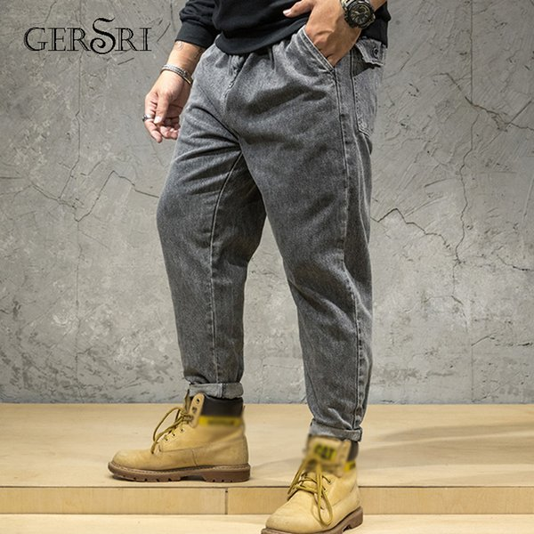 Gersri New Brand Jeans Men Fashion Casual Loose Jeans Straight Breathable Elastic Comfortable Fatty Guy Pants Plus Size 28-46