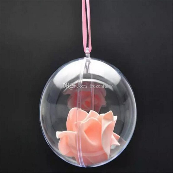 80mm Transparent Clear Plastic Opening Gift Candy Box Fillable Ball Baubles Decor Wedding Christmas Tree Decoration Party Supplies bb671-678