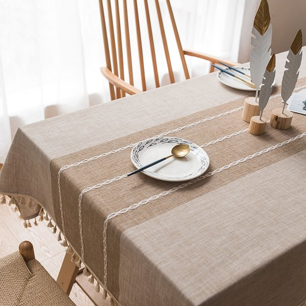 Japan and South Korea cotton and linen modern pastoral handmade simple fresh restaurant home weaving hollow tablecloth TV dust cover towel