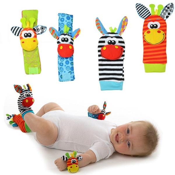 Sozzy Lovely Cartoon Zebra New Baby Infant Soft Socks Wrist Rattle Set Educational Best Newborn Gift Toys for Children Boy Girl