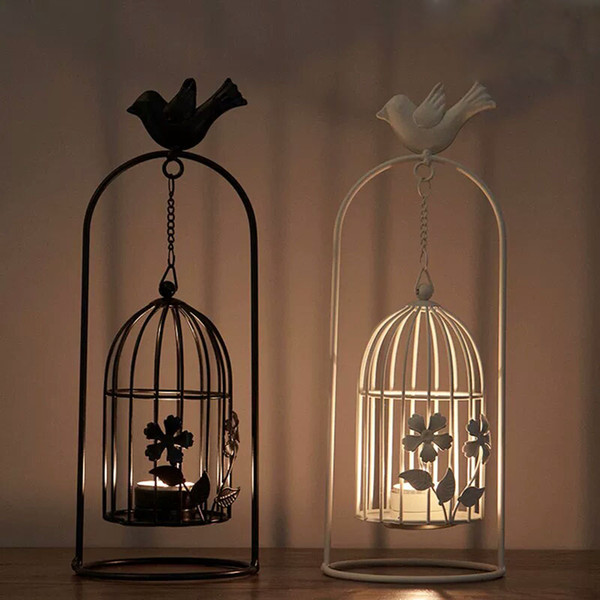 European Bird Cage Tea Light Hanging Lantern with Iron Flower Butterfly Cutwork Retro Candle Holder for Home Wedding Black White