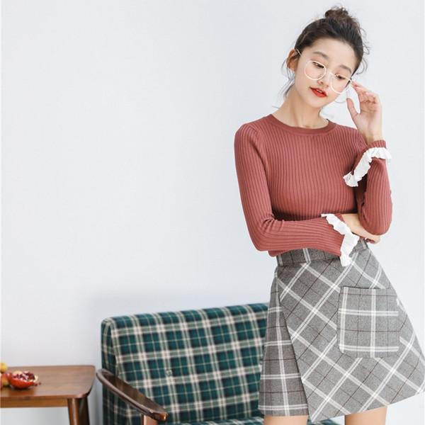 style coréen mode automne hiver chandails femmes 2019 harajuku tops tendance vintage dentelle rayée couture tricoté pull femmes