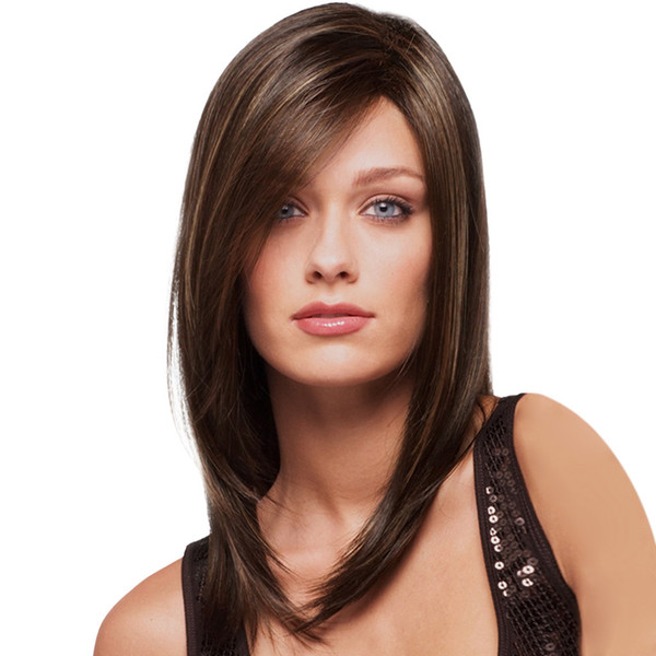 Factory price 1pc Women Fashion Lady Brown Synthetic Medium Long Hair Natural Cosplay Wigs Stand Cosplay 2019 Hot Jan8